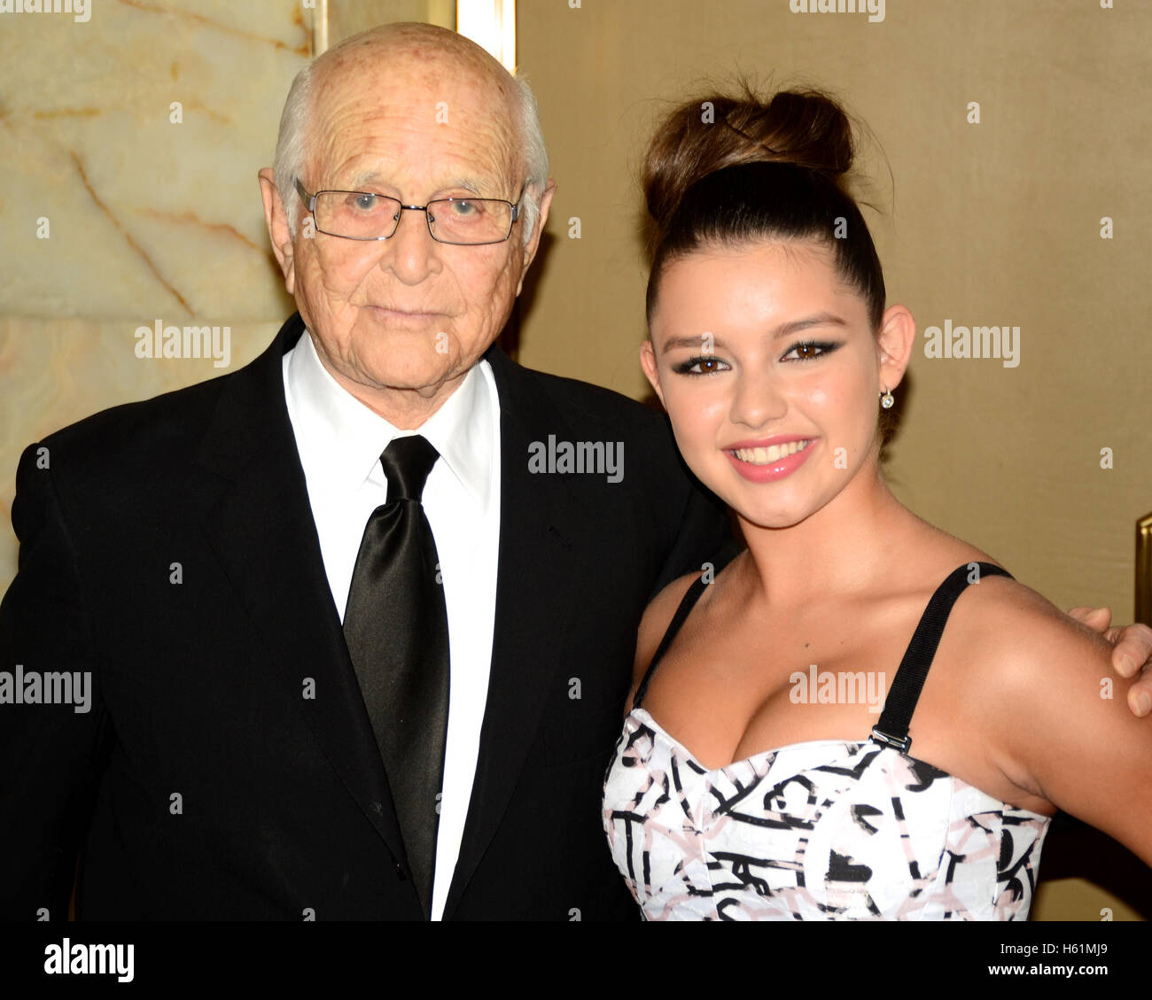 Fatima Ptacek (r) and Norman Lear arrive at the 30th Annual Imagen Awards on August 21, 2015 in Los Angeles, California. - Stock Image