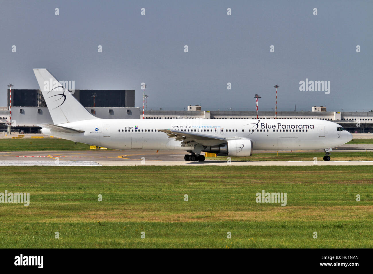 Blue Panorama Airlines Boeing 767-35H(ER). Photographed at Malpensa airport, Milan, Italy - Stock Image