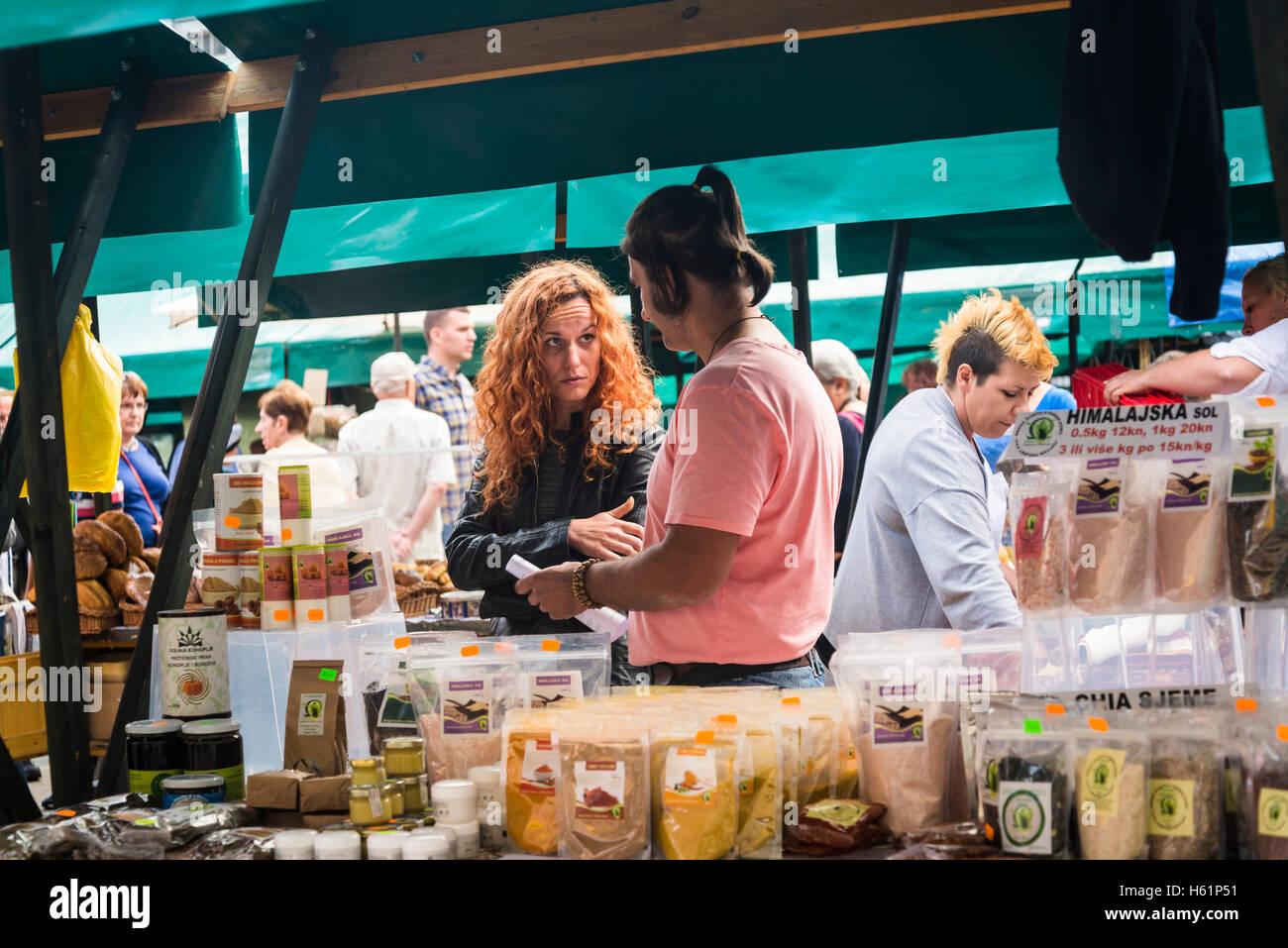 Producers' artisan market, Ban Jelacic Square, Zagreb, Croatia - Stock Image