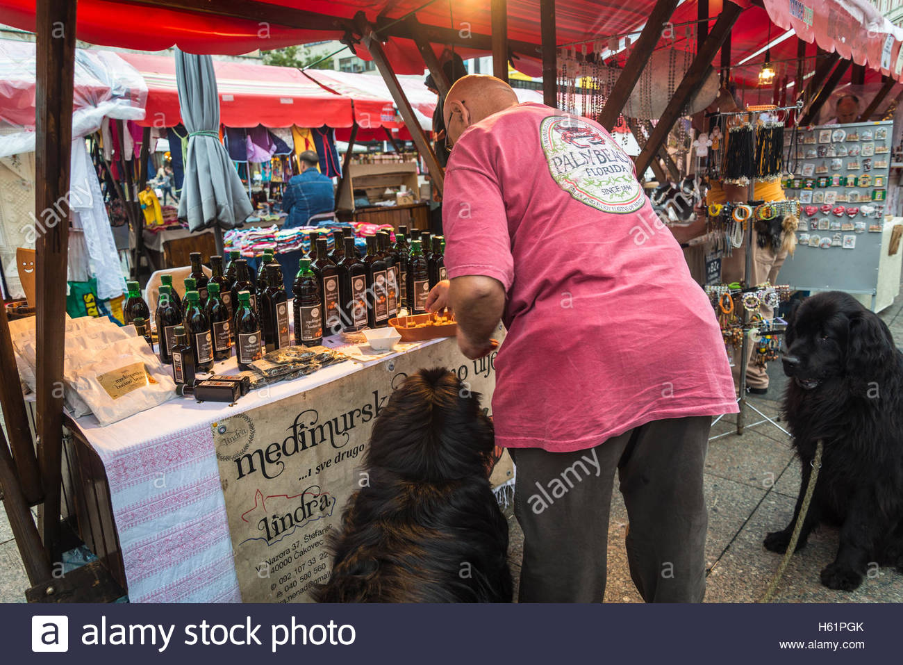 Stall with pumpkin oil and seller feeding his two dogs, Producers' artisan market, Ban Jelacic Square, Zagreb, - Stock Image
