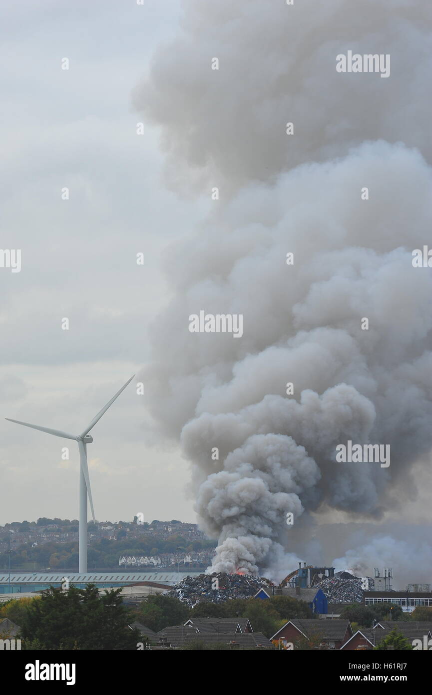 Scrap yard fire on Bootle docks in Liverpool. - Stock Image