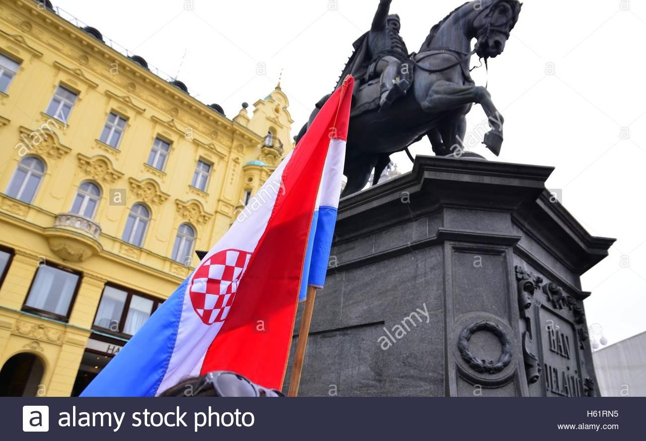 Croatian, flag at Ban Josip Jelacic square, Zagreb,Croatia Stock Photo