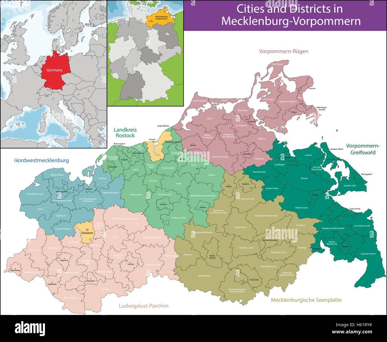 Map of Mecklenburg-Vorpommern - Stock Vector