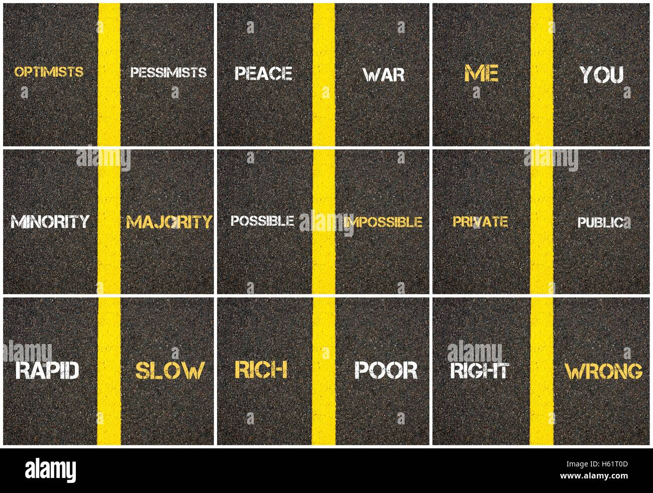 Photo collage of antonym concepts written over tarmac, road marking yellow paint separating line between words - Stock Image
