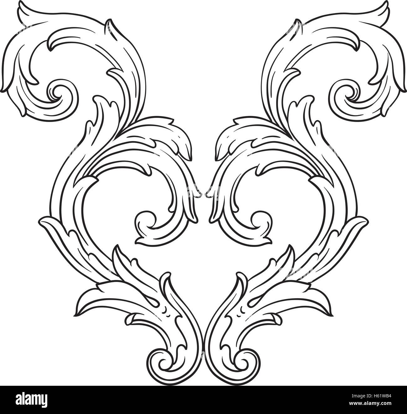 Antique Scroll Line: Vintage Baroque Frame Scroll Ornament Engraving Border