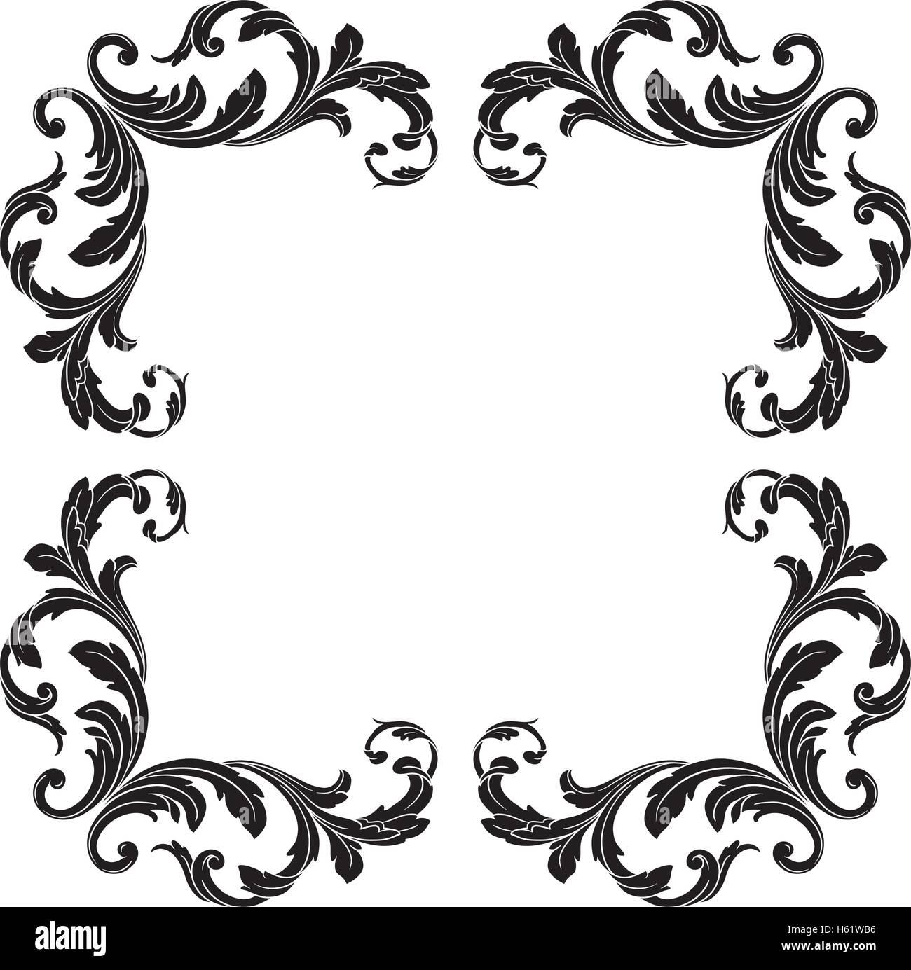 vintage baroque frame scroll ornament engraving border floral retro rh alamy com black and white damask border clip art