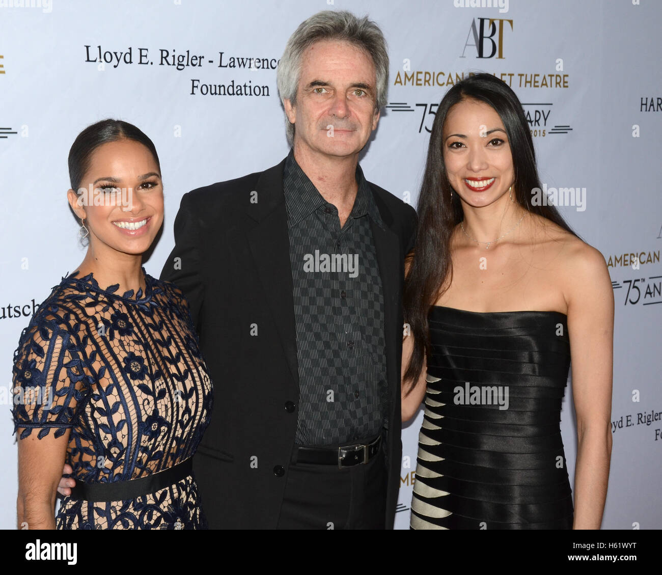 Misty Copeland, (L), Kevin McKenzie (C), Stella Abrera (R) arrives at the American Ballet Theatre 75th Anniversary - Stock Image