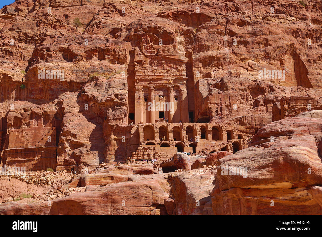 The Urn Tomb of the Royal Tombs in the rock city of Petra, Jordan - Stock Image