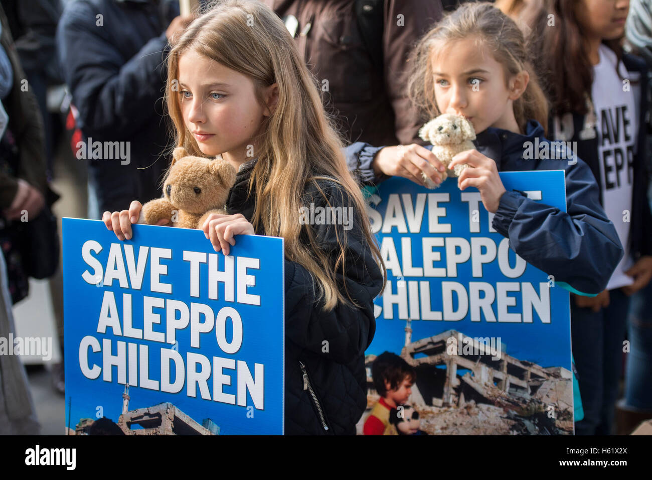 Downing Street/Whitehall.Children join a rally in Whitehall calling on the government save the children of Aleppo - Stock Image