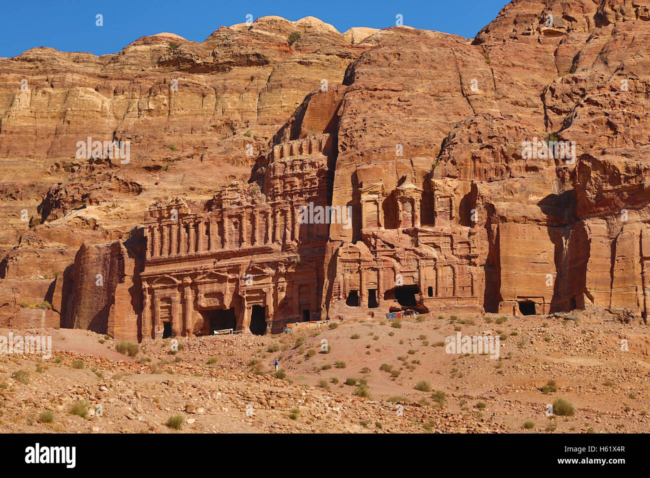 The Corinthian Tomb and the Palace Tomb of the Royal Tombs in the rock city of Petra, Jordan Stock Photo