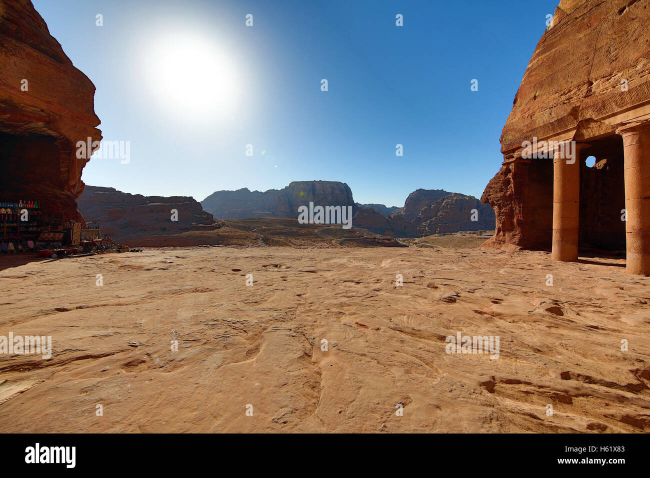 View from the Urn Tomb of the Royal Tombs in the rock city of Petra, Jordan - Stock Image