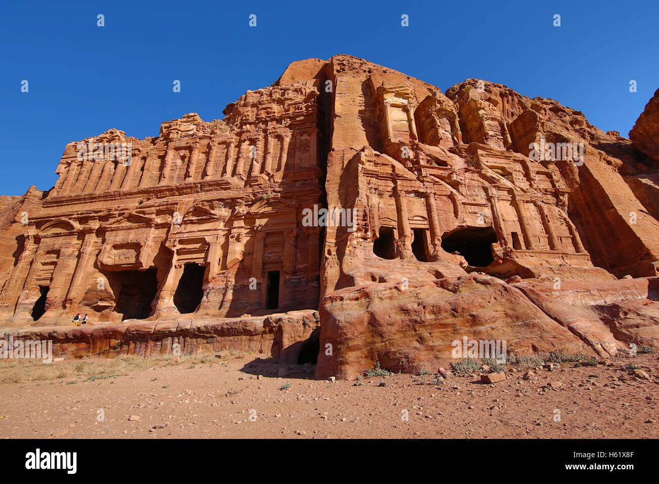 The Corinthian Tomb and the Palace Tomb of the Royal Tombs in the rock city of Petra, Jordan - Stock Image