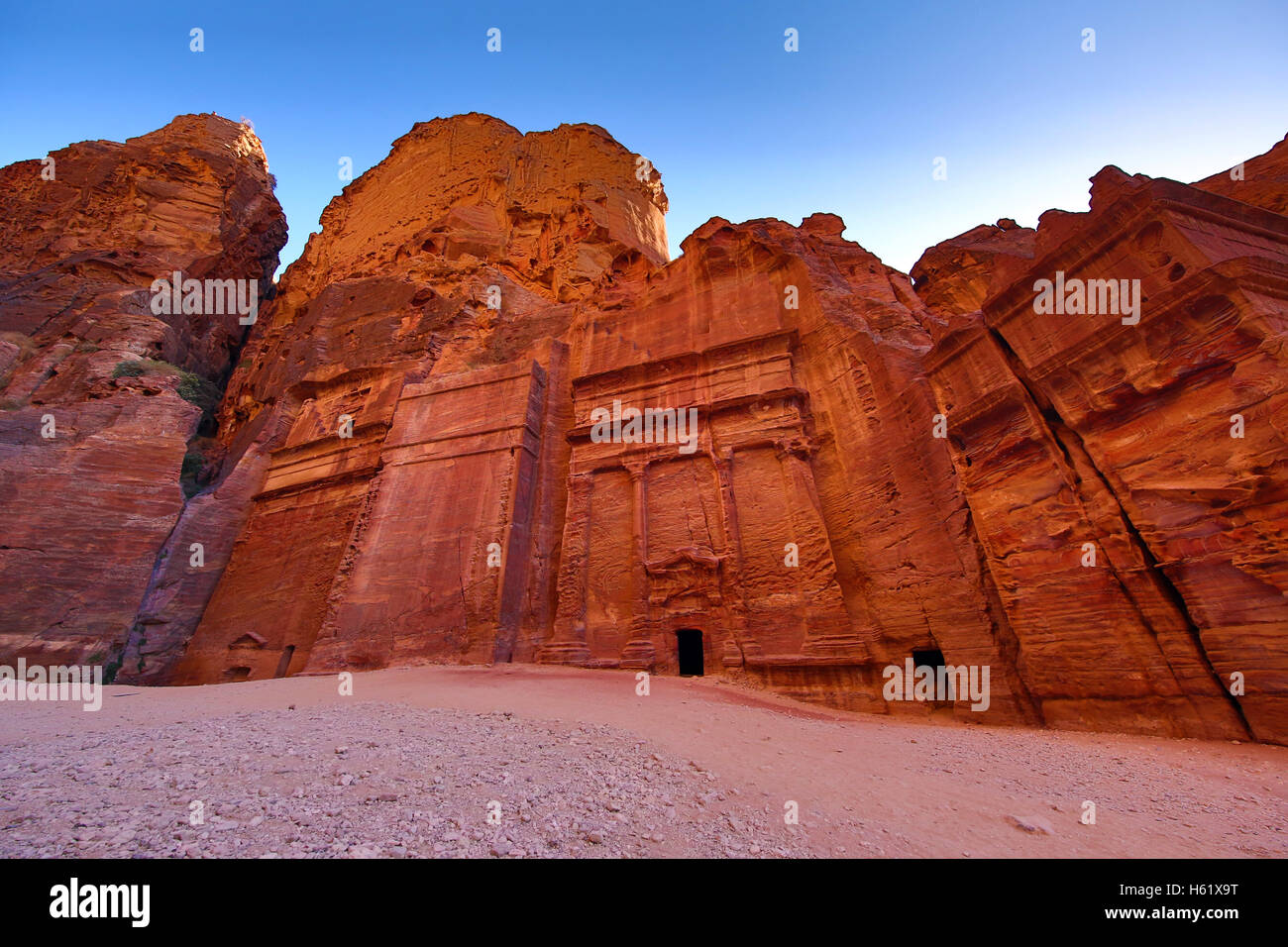 The Street of Facades in the rock city of Petra, Jordan - Stock Image