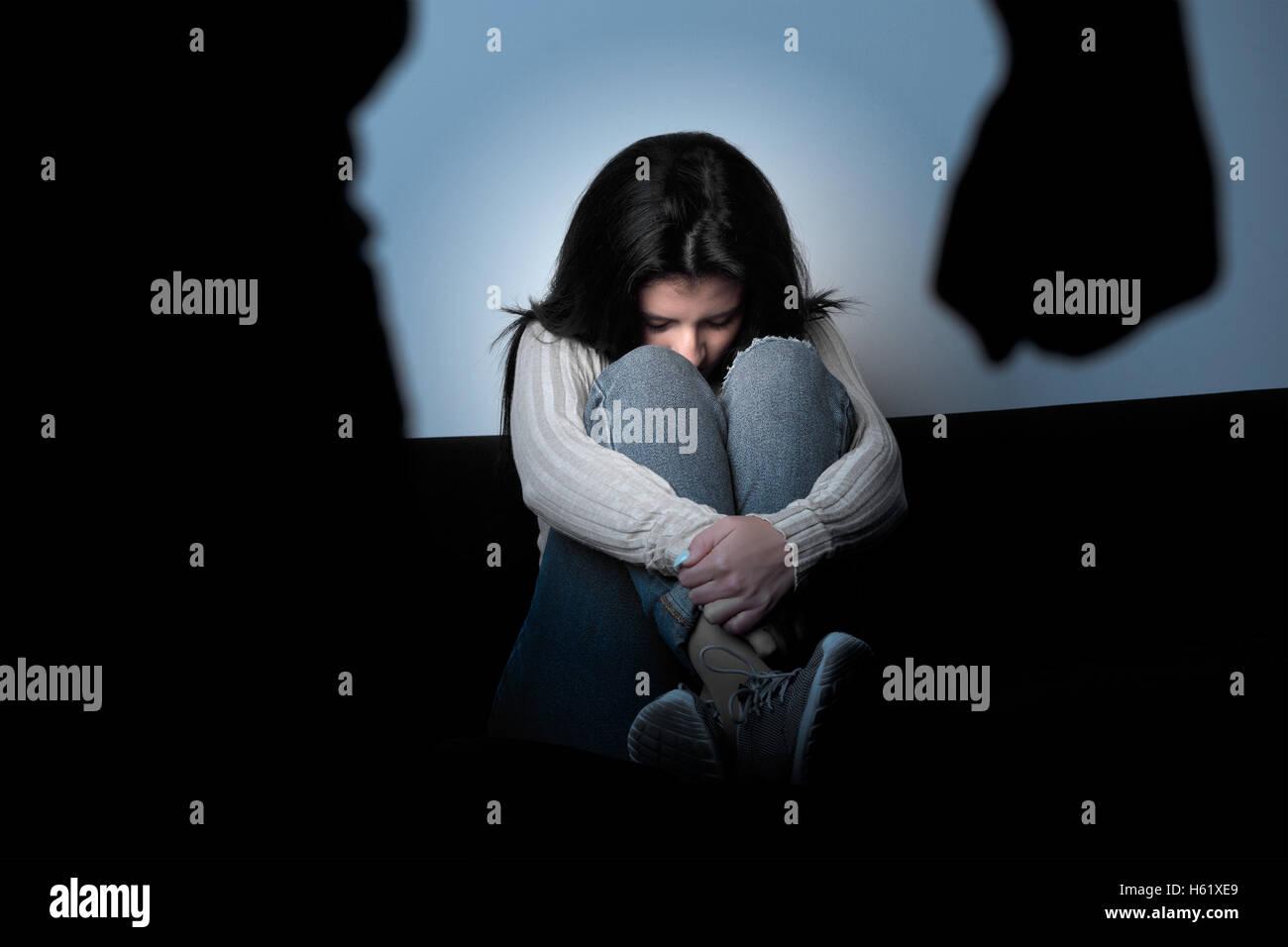 Violent husband abusing wife - Stock Image