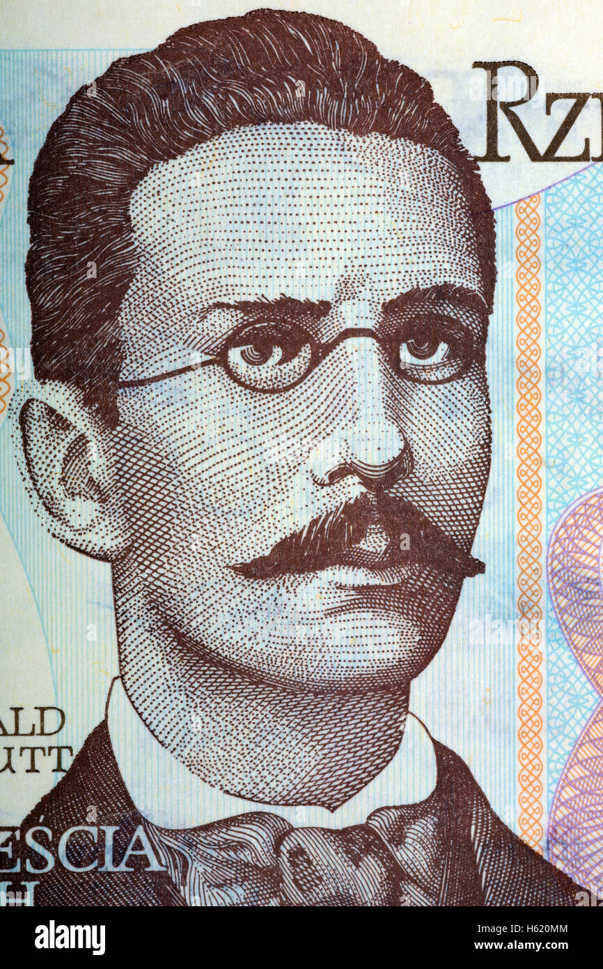 Romuald Traugutt, portrait from old twenty zloty Stock Photo