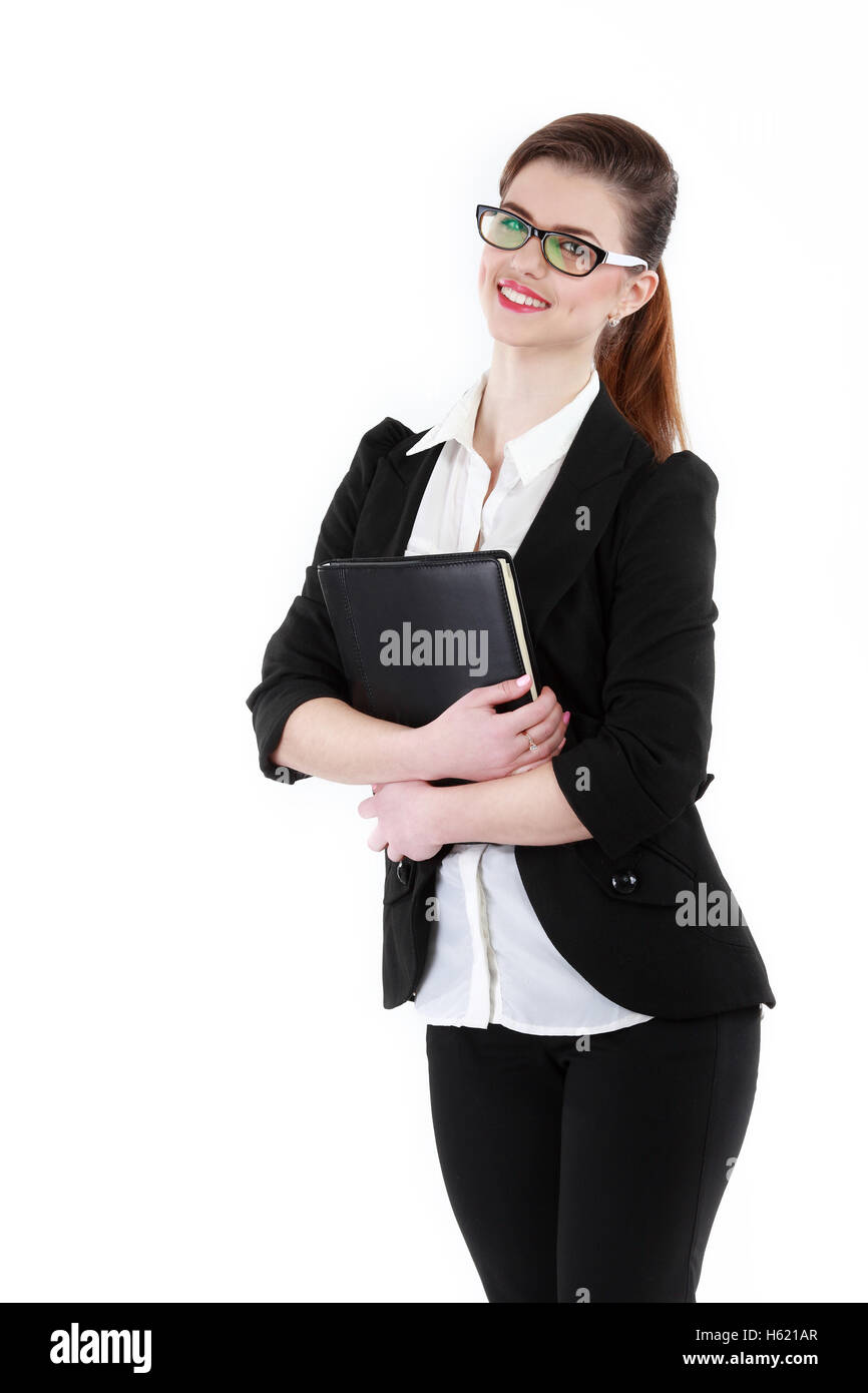 Half-length portrait of business lady with folder wearing black frame glasses, isolated on white - Stock Image