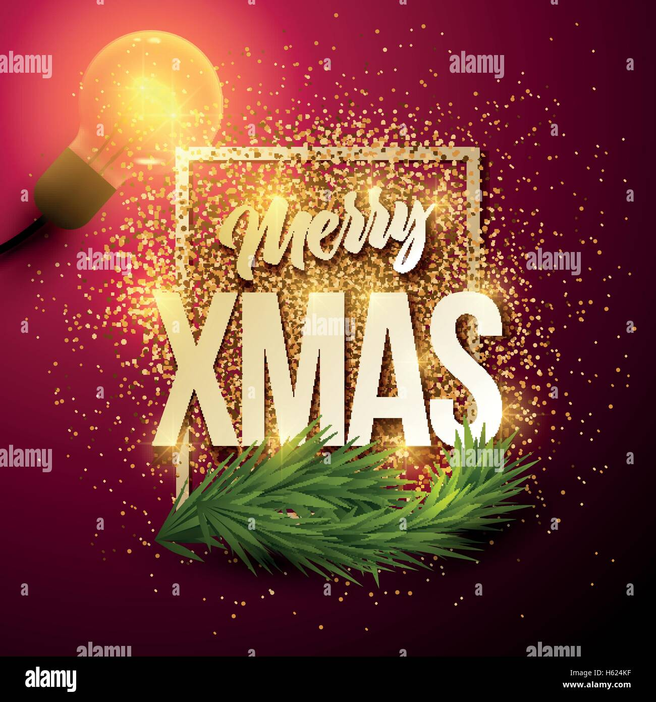 Vector Christmas greeting card. Merry Xmas message in frame and gold ...