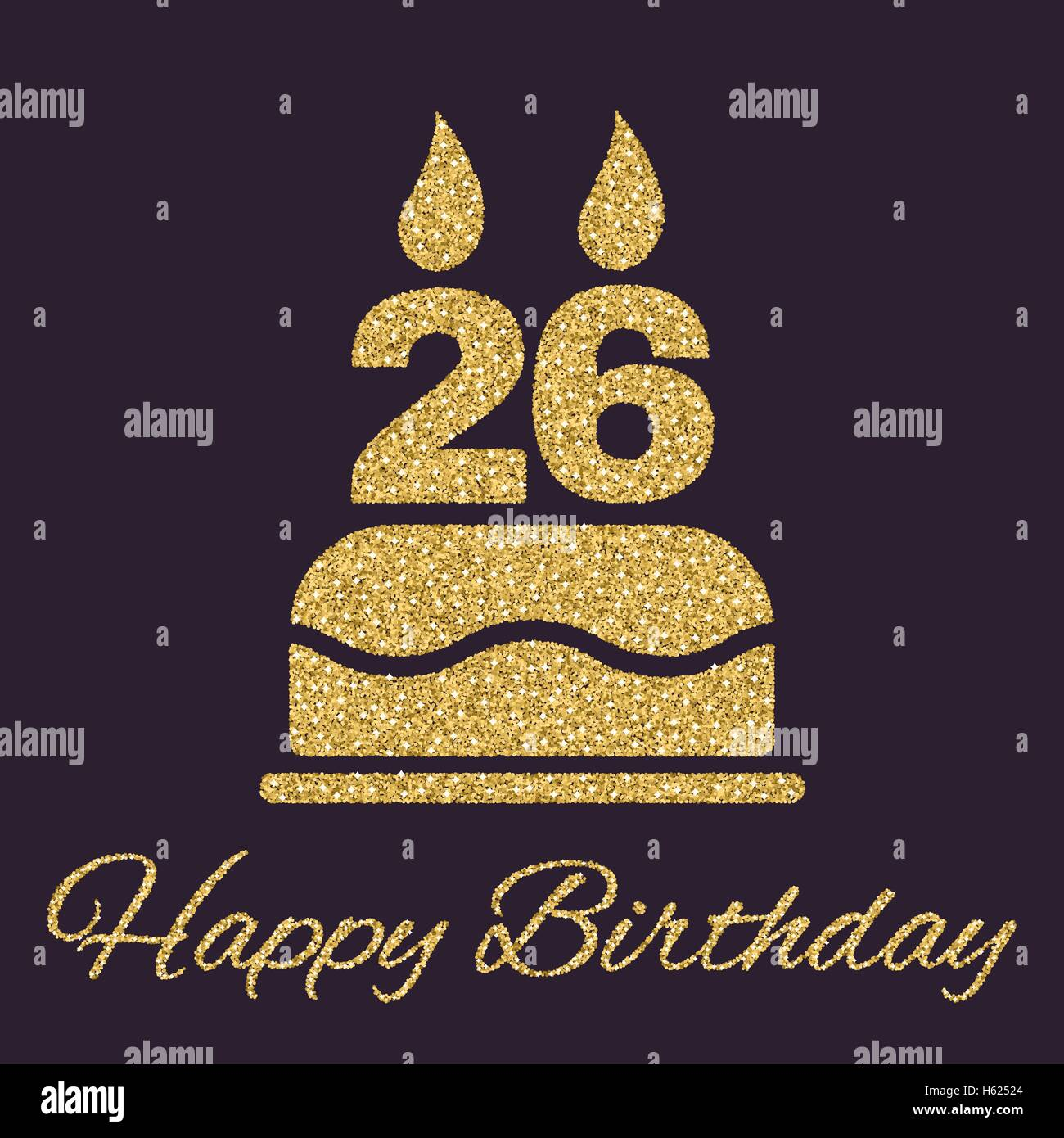 the birthday cake with candles in the form of number 26 icon birthday symbol gold sparkles and glitter