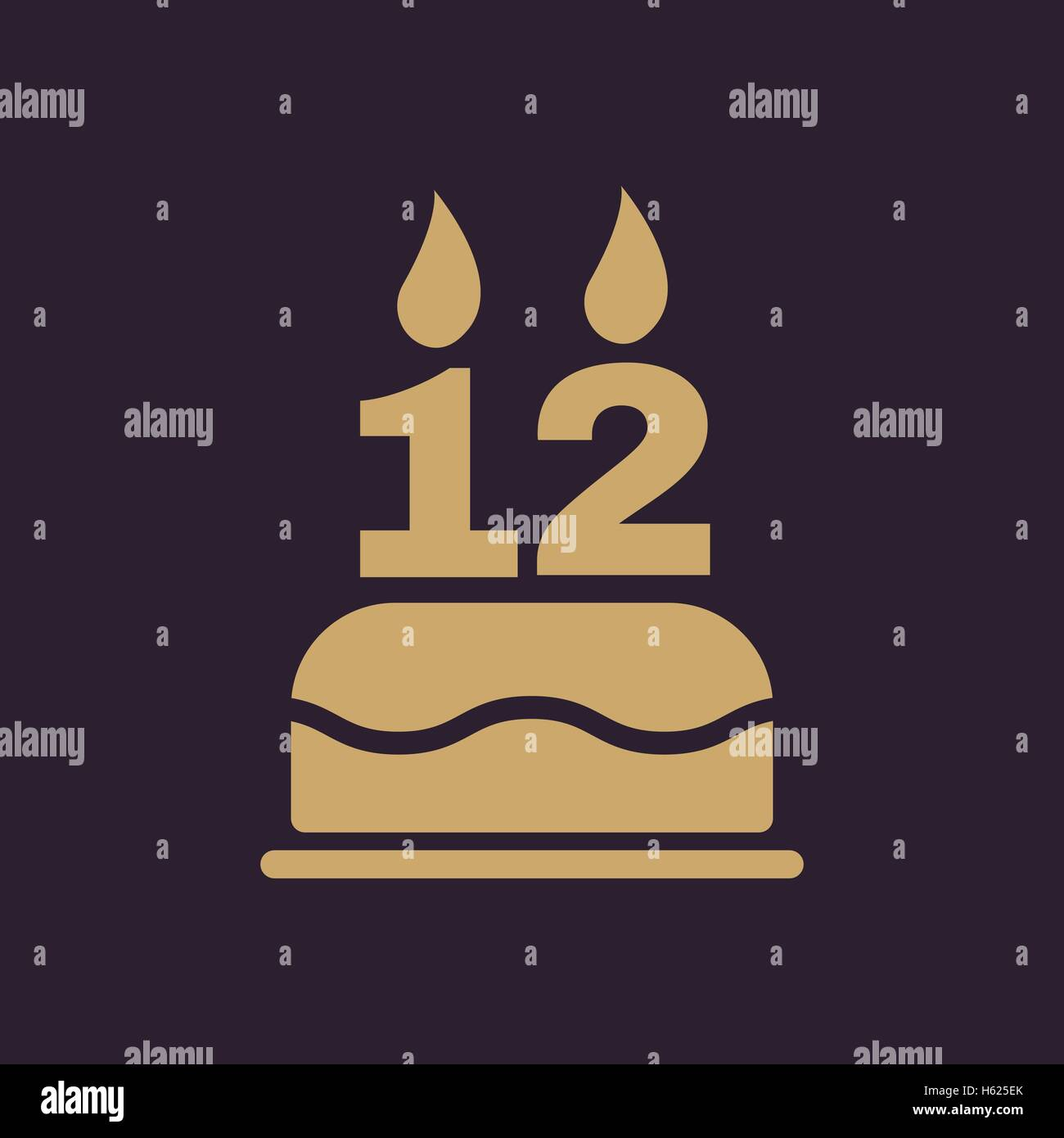 Birthday Cake Candles Number Twelve Stock Vector Images Alamy