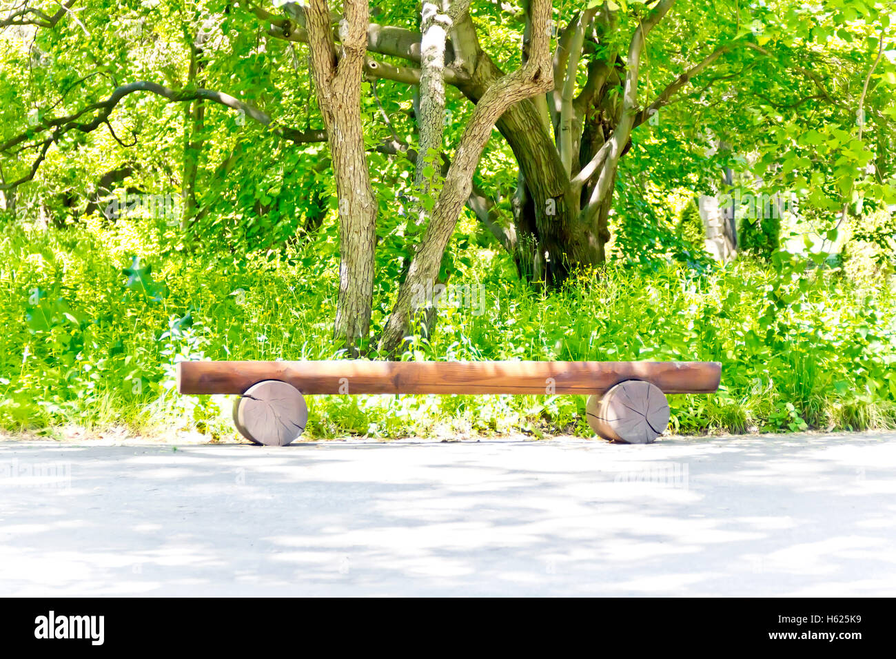 Photo of summer landscape with empty pew - Stock Image