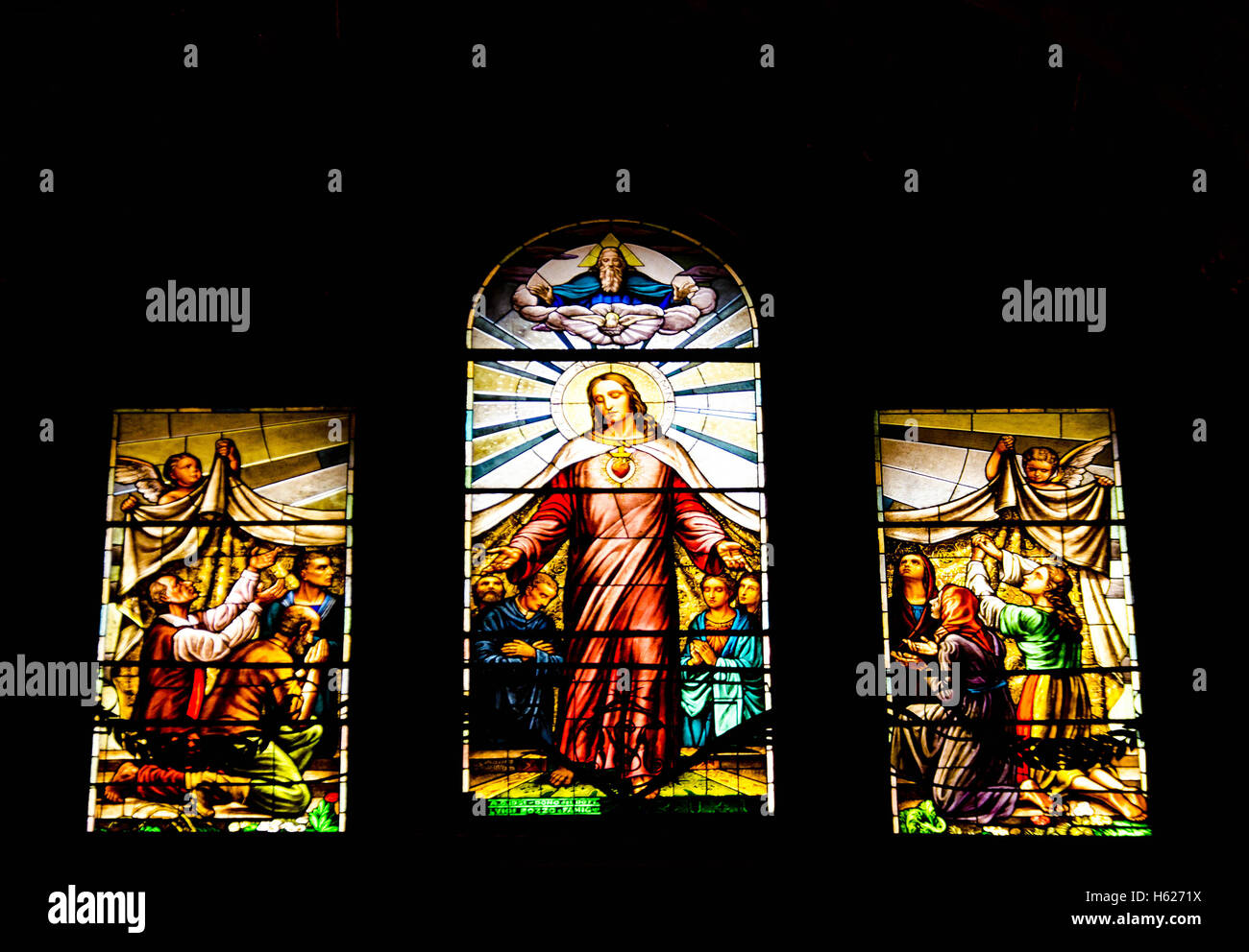 Stained glass window in the Basilica di Santa Margherita Italy depicting Jesus preaching Stock Photo