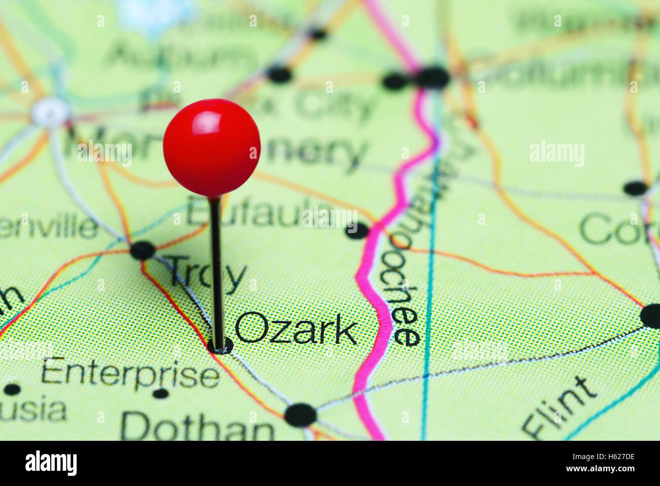 Ozark pinned on a map of Alabama, USA Stock Photo: 124210282 ... on map of nevada usa, map of georgia usa, map of st. vincent and the grenadines, map of america usa, map of san antonio usa, map of northeastern usa, map of northwestern usa, map of midwest states usa, map of southern usa, map of the south usa, map of carolinas usa, map delaware usa, map arkansas usa, map of washington dc usa, map of richmond usa, map of mexico usa, map of southeast usa, map of boston usa, colorado map usa, map of pacific northwest usa,