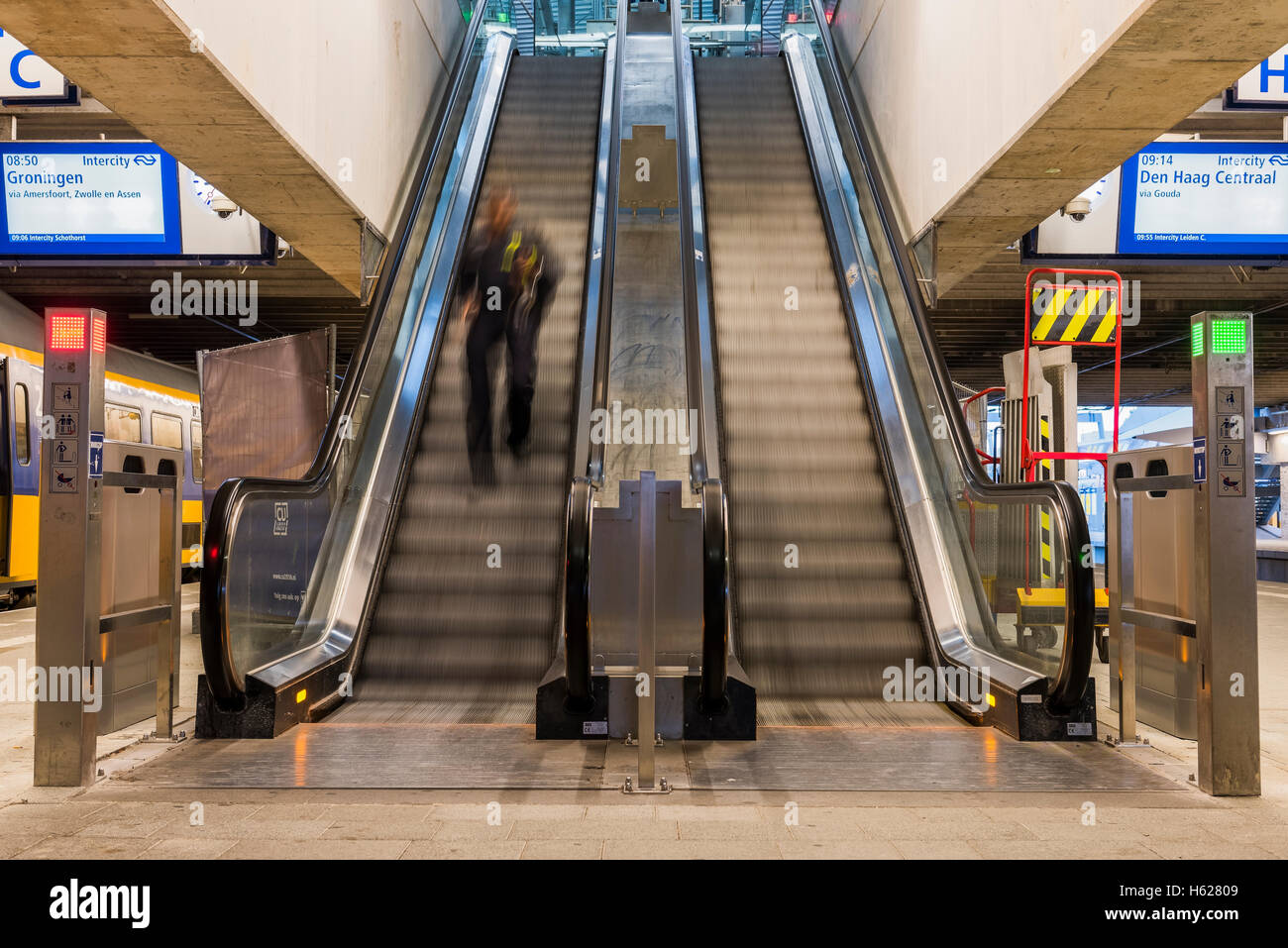 Utrecht, The Netherlands - October 12, 2016: Central hall of NS Central Railway Station Utrecht with escalator, - Stock Image