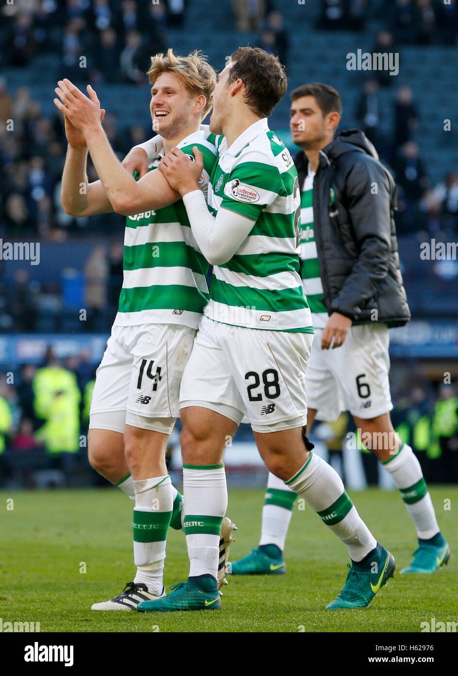 Celtic's (from left) Stuart Armstrong, Erik Sviatchenko and Nir Bitton after the Betfred Cup, Semi Final match - Stock Image
