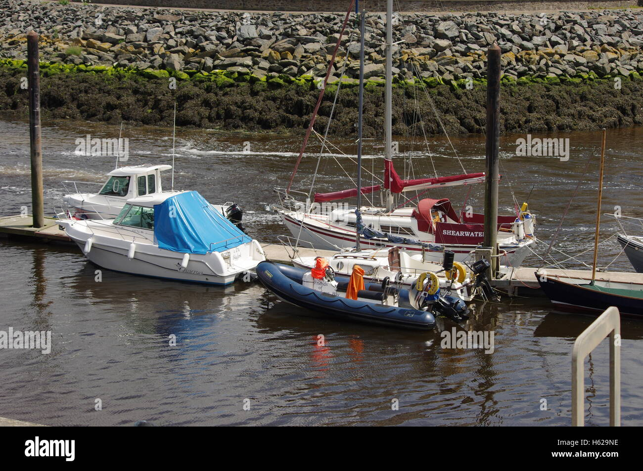 View overlooking the boats at Aberystwyth Harbour / Marina. Stock Photo