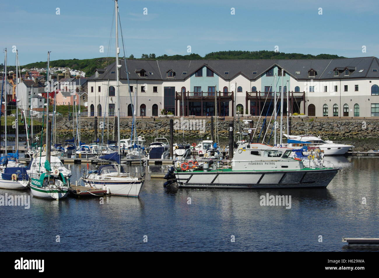 View overlooking the boats Aberystwyth Harbour / Marina facing towards Y Lanfa, Trefechen. - Stock Image