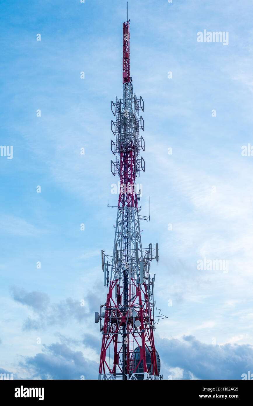 Telecommunication Tower and relay station - Stock Image