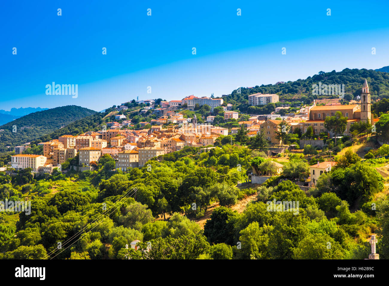 Sartene old town with green forest and mountains, Corsica, France, Europe. - Stock Image