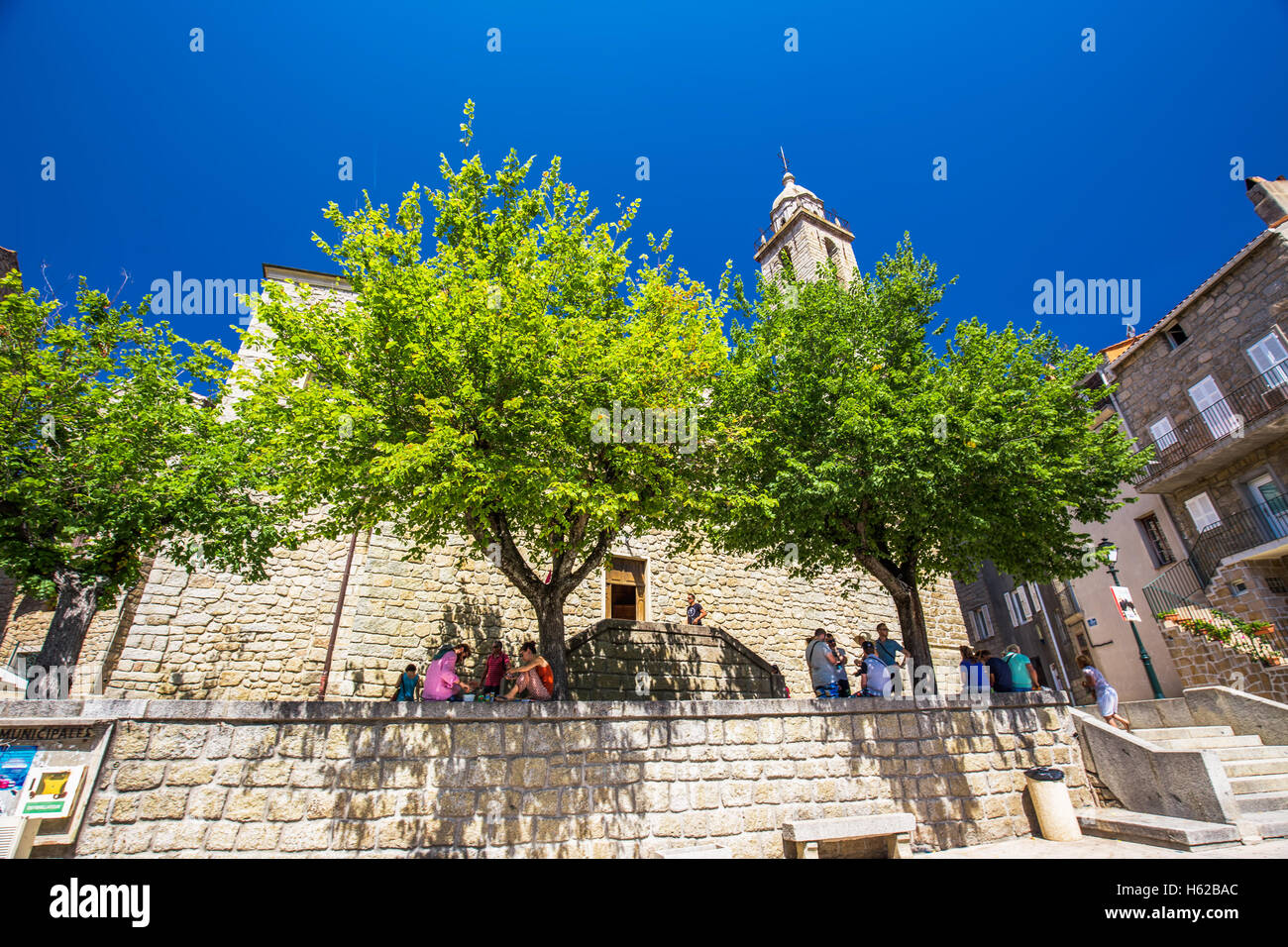 Sainte Maria church in the old city center of Sartene town, Corsica, France, Europe. - Stock Image