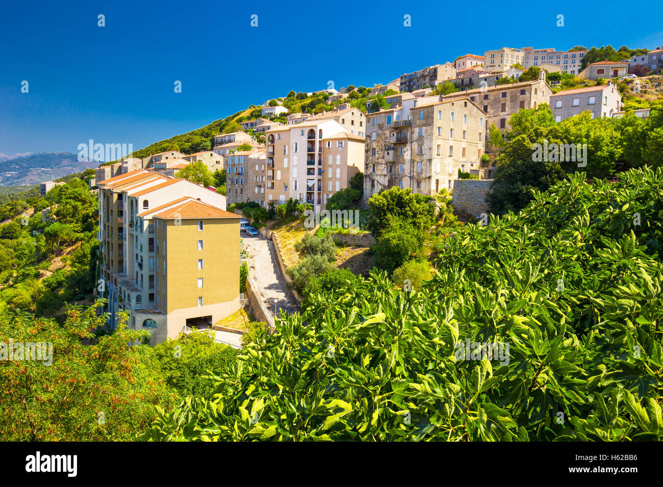 Old city center of Sartene town, Corsica, France, Europe. - Stock Image