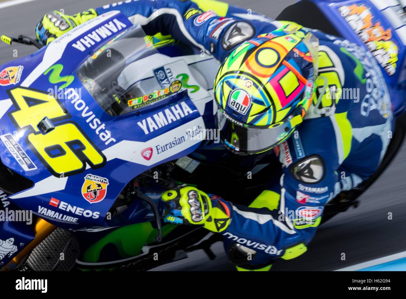 Melbourne, Australia. 23rd October, 2016. Valentino Rossi (ITA) riding the #46 Movistar Yamaha MotoGP's Yamaha - Stock Image