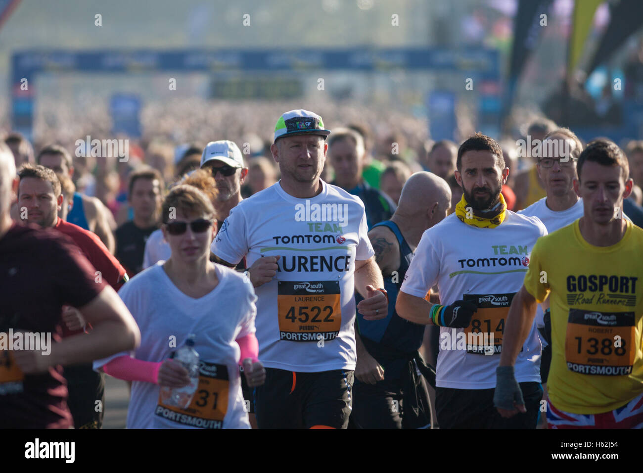 Portsmouth, UK. 23rd October, 2016.  Thousands of runners are taking part in the 2016 Great South Run in the waterfront - Stock Image