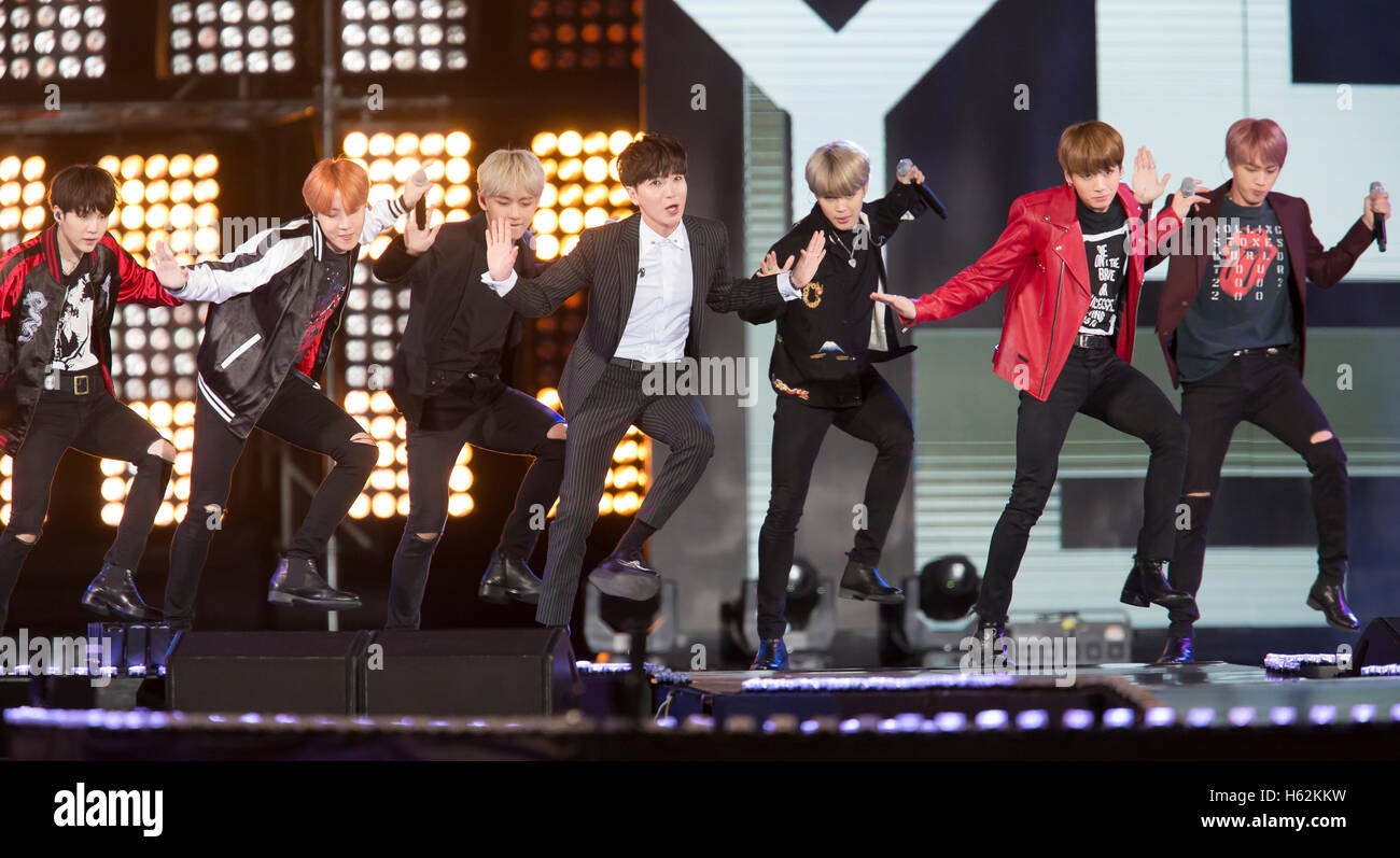 BTS and Leeteuk (Super Junior), Oct 8, 2016 : South Korean boy band BTS or Bangtan Boys and Leeteuk (C), a member - Stock Image