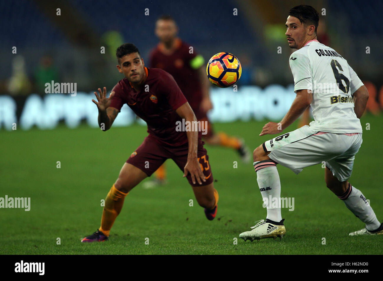 Rome Italy  Emerson Palmieri And E Goldaniga In Action During The Match Serie A League Between Roma Vs Palermo In Olimpic Stadium In Rome