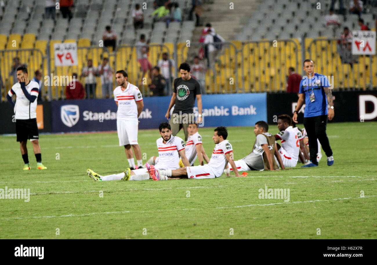 Alexandria, Alexandria, Egypt. 23rd Oct, 2016. Zamalek's players react after losing the CAF Champions League - Stock Image