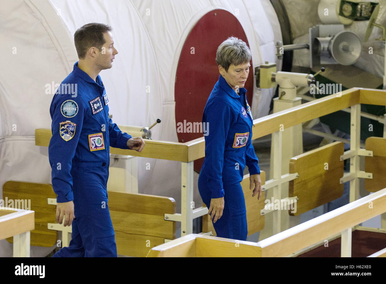 Moscow Region, Russia. 24th Oct, 2016. ISS Expedition 49/50 main crew members, astronauts Thomas Pesquet (ESA) and - Stock Image