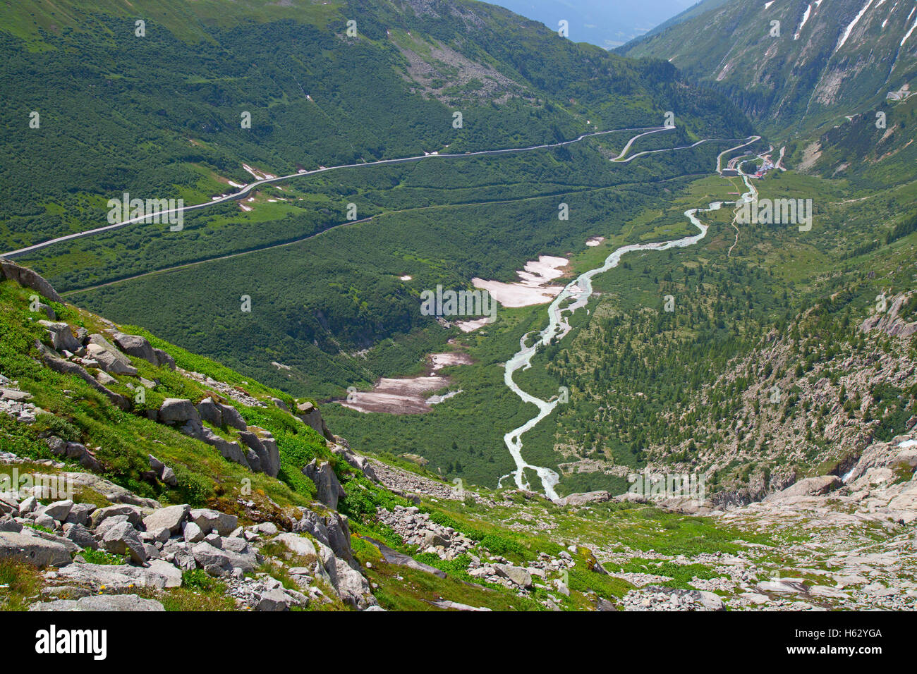 Rhone glacier, source of Rhone river Stock Photo