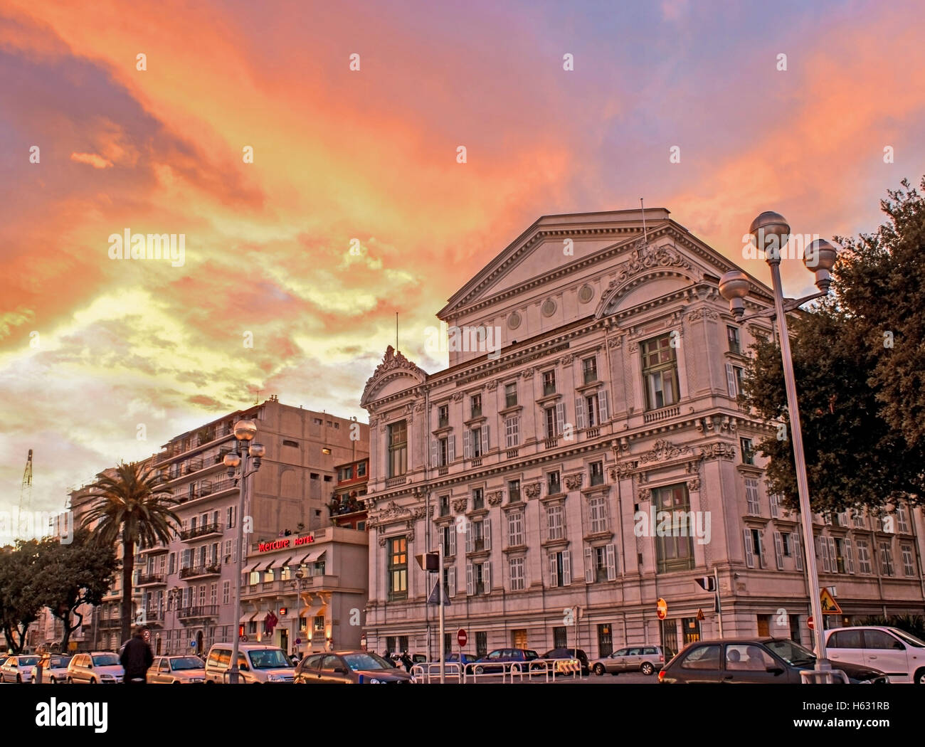 8a83b530c2427 The southern facade of the Opera de Nice located on rue saint francois de  paule in the colours of sunset