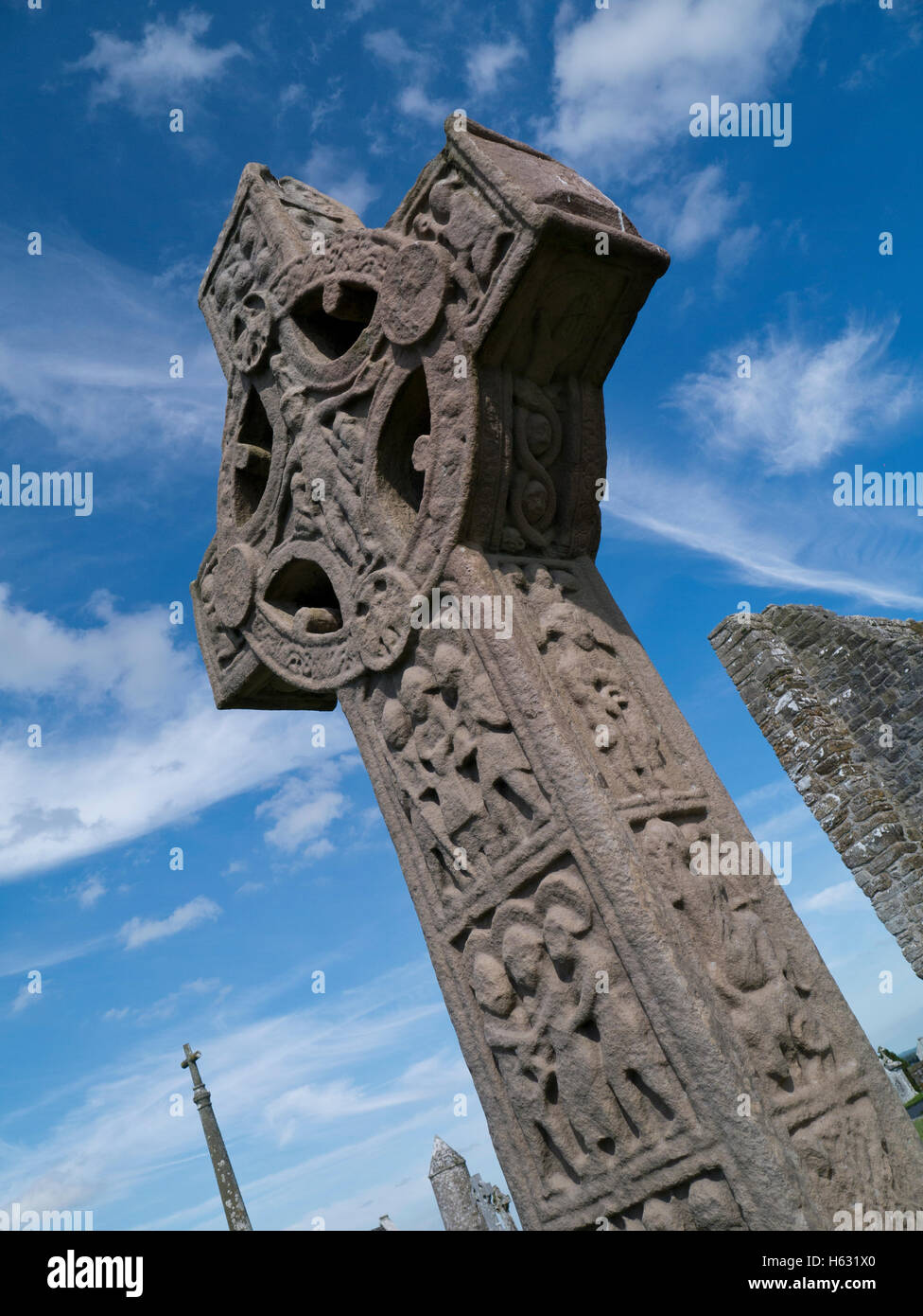 High cross of the scriptures, Clonmacnoise - Stock Image
