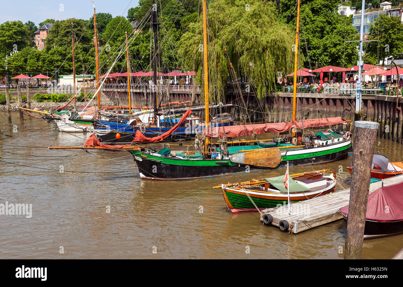 Historical Sailing Ships in the Museum Port of Hamburg at Oevelgoenne - Stock Image