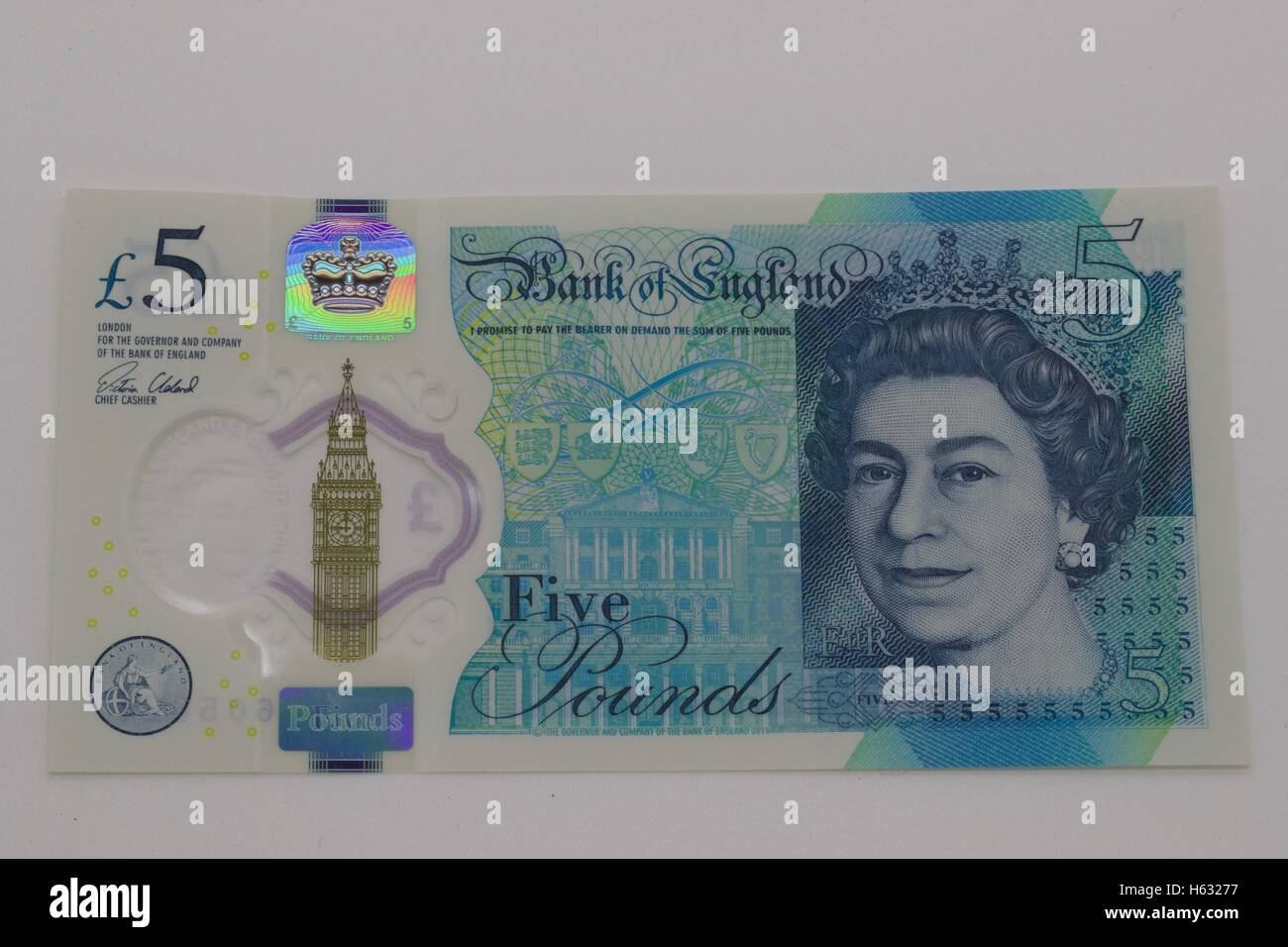 A new five pound note - Stock Image