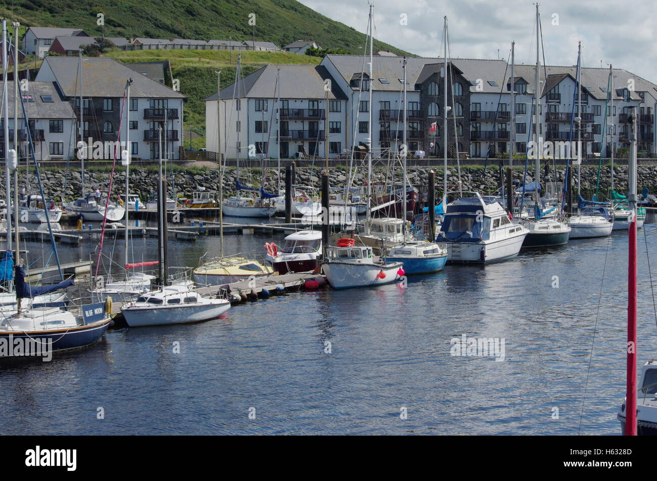 View overlooking the boats at Aberystwyth Harbour / Marina facing towards Y Lanfa, Trefechen. - Stock Image
