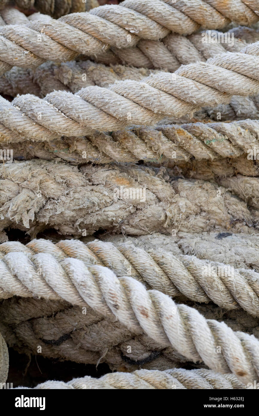 knotted ships Laid rope Stock Photo