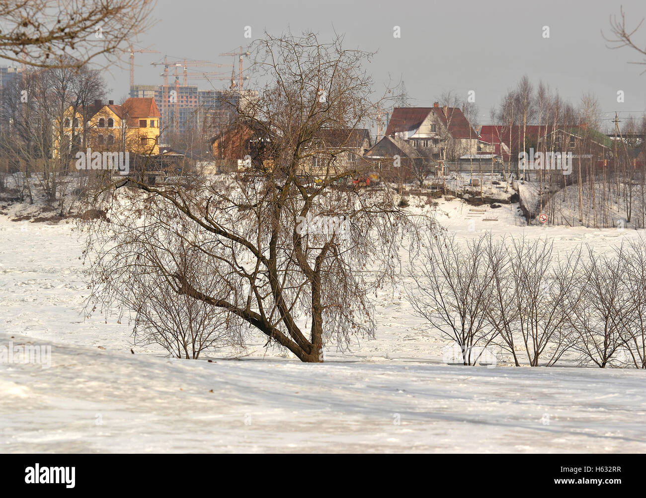 The house on the other Bank of the river Neva. Stock Photo
