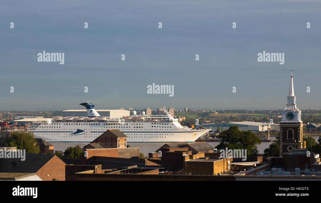 Cruise ship Magellan seen at Tilbury from a high vantage point in Gravesend - Stock Image