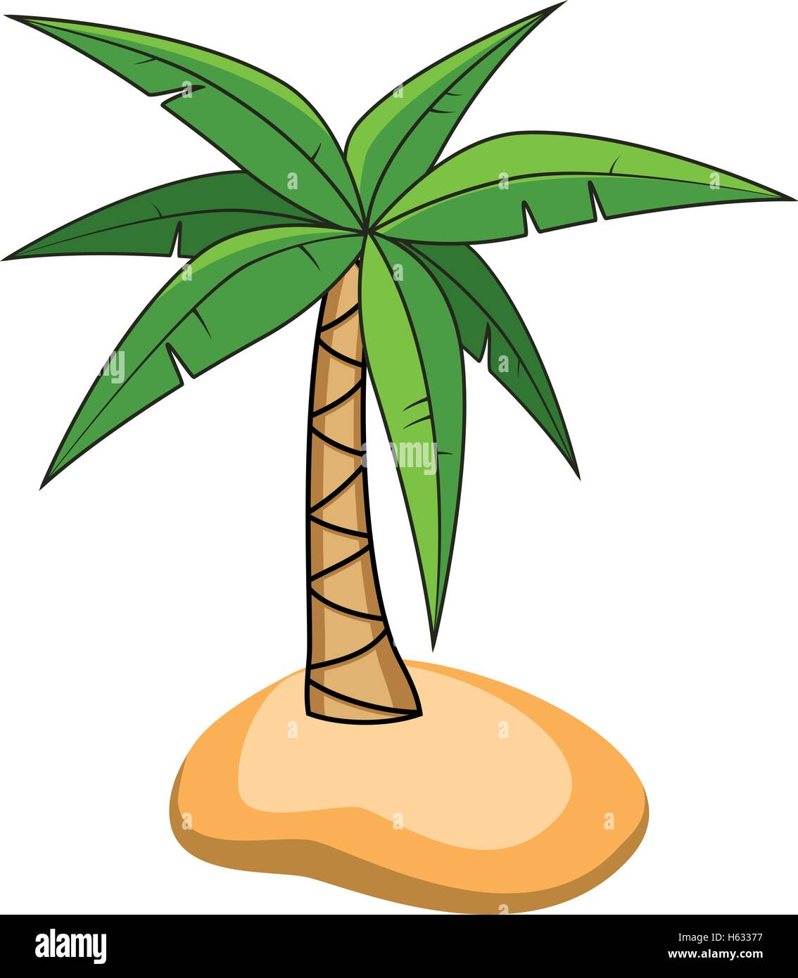 vector cartoon of palm tree on a small island for travel backgrounds - Stock Image